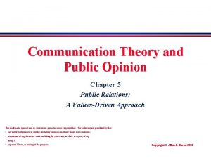Communication Theory and Public Opinion Chapter 5 Public