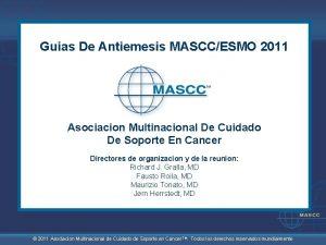 Guias De Antiemesis MASCCESMO 2011 Asociacion Multinacional De