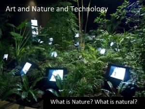 Art and Nature and Technology What is Nature