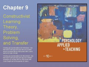 Chapter 9 Constructivist Learning Theory Problem Solving and