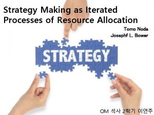 Strategy Making as Iterated Processes of Resource Allocation