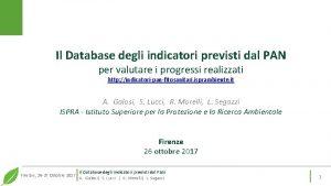Il Database degli indicatori previsti dal PAN per