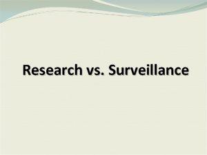 Research vs Surveillance Public Health Surveillance Systems Public