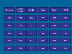 Economy Amendments Facts MISC 100 100 100 200