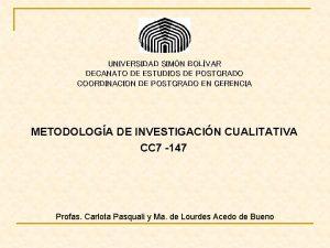 UNIVERSIDAD SIMN BOLVAR DECANATO DE ESTUDIOS DE POSTGRADO