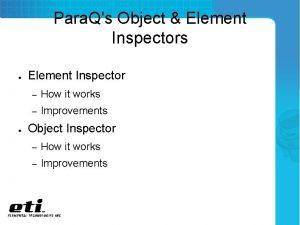 Para Qs Object Element Inspectors Element Inspector How