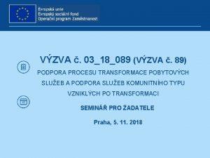 VZVA 0318089 VZVA 89 PODPORA PROCESU TRANSFORMACE POBYTOVCH