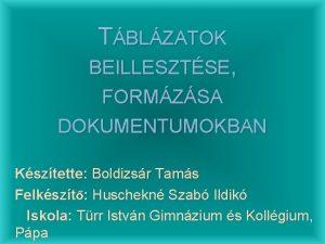 TBLZATOK BEILLESZTSE FORMZSA DOKUMENTUMOKBAN Ksztette Boldizsr Tams Felkszt