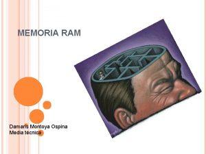MEMORIA RAM Damaris Montoya Ospina Media tcnica RAM