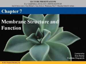 LECTURE PRESENTATIONS For CAMPBELL BIOLOGY NINTH EDITION Jane