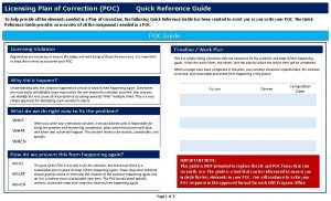 Licensing Plan of Correction POC Quick Reference Guide