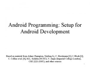 Android Programming Setup for Android Development Based on