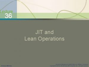 JIT and Lean Operations Lecture 36 JIT and