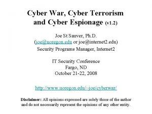 Cyber War Cyber Terrorism and Cyber Espionage v