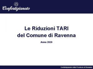Le Riduzioni TARI del Comune di Ravenna Anno