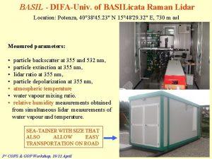 BASIL DIFAUniv of BASILicata Raman Lidar Location Potenza