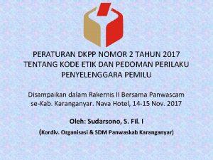 PERATURAN DKPP NOMOR 2 TAHUN 2017 TENTANG KODE