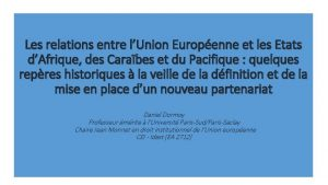 Les relations entre lUnion Europenne et les Etats