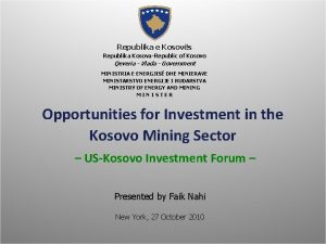 Republika e Kosovs Republika KosovaRepublic of Kosovo Qeveria