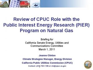 Review of CPUC Role with the Public Interest