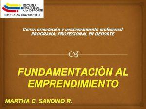 Curso orientacin y posicionamiento profesional PROGRAMA PROFESIONAL EN