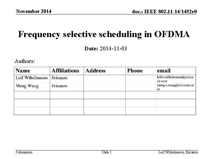 November 2014 doc IEEE 802 11 141452 r