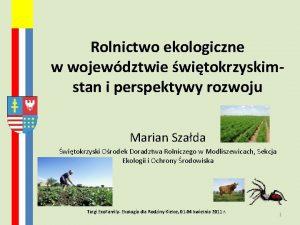 Rolnictwo ekologiczne w wojewdztwie witokrzyskimstan i perspektywy rozwoju
