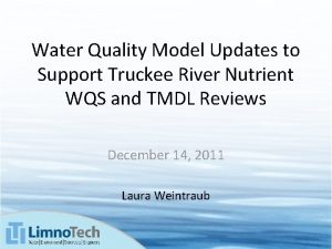 Water Quality Model Updates to Support Truckee River