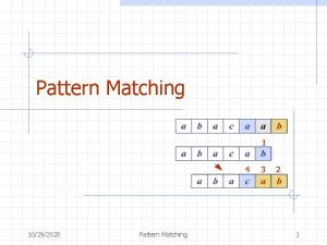 Pattern Matching 10292020 Pattern Matching 1 Outline and