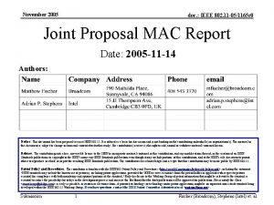 November 2005 doc IEEE 802 11 051165 r