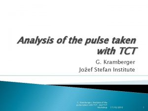 Analysis of the pulse taken with TCT G