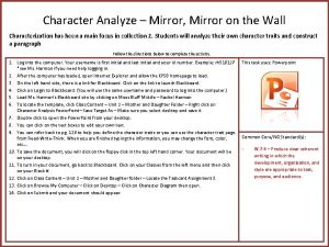 Character Analyze Mirror Mirror on the Wall Characterization