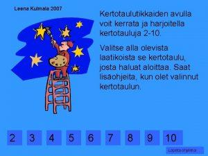 Leena Kulmala 2007 Kertotaulutikkaiden avulla voit kerrata ja