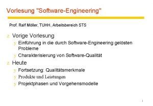 Vorlesung SoftwareEngineering Prof Ralf Mller TUHH Arbeitsbereich STS