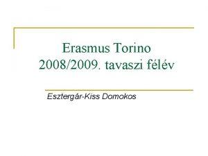 Erasmus Torino 20082009 tavaszi flv EsztergrKiss Domokos Apektusok