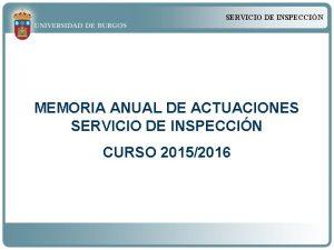 SERVICIO DE INSPECCIN MEMORIA ANUAL DE ACTUACIONES SERVICIO