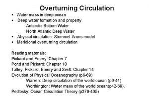 Overturning Circulation Water mass in deep ocean Deep
