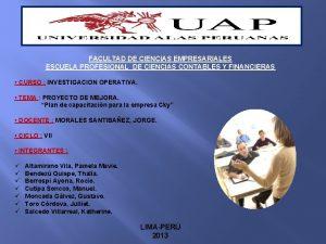 FACULTAD DE CIENCIAS EMPRESARIALES ESCUELA PROFESIONAL DE CIENCIAS