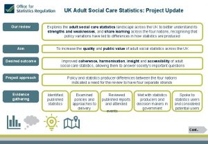 UK Adult Social Care Statistics Project Update Our