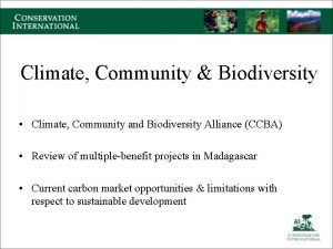 Climate Community Biodiversity Climate Community and Biodiversity Alliance