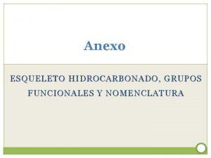 Anexo ESQUELETO HIDROCARBONADO GRUPOS FUNCIONALES Y NOMENCLATURA Esqueleto