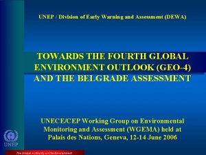 UNEP Division of Early Warning and Assessment DEWA