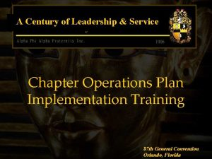 A Century of Leadership Service Chapter Operations Plan