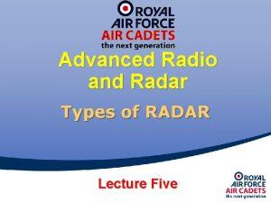 Advanced Radio and Radar Types of RADAR Lecture