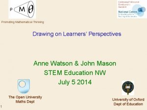 Promoting Mathematical Thinking Drawing on Learners Perspectives Anne