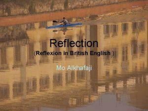 Reflection Reflexion in British English Mo Alkhafaji Reflection