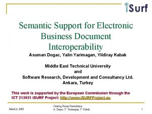 Semantic Support for Electronic Business Document Interoperability Asuman