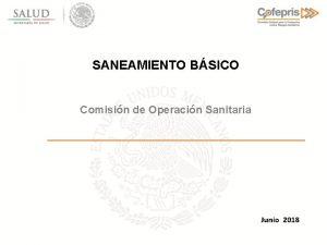 SANEAMIENTO BSICO Comisin de Operacin Sanitaria Junio 2018