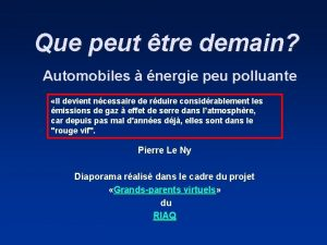 Que peut tre demain Automobiles nergie peu polluante