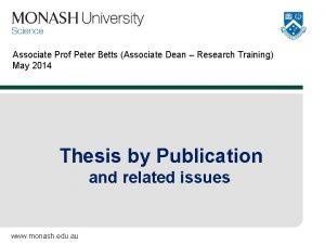 Associate Prof Peter Betts Associate Dean Research Training
